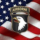 101st Airborne Division - 101st ABN Insignia over American Flag  by Serge Averbukh