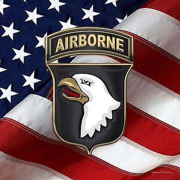 101st Airborne Division - 101st ABN Insignia over American Flag  by Captain7