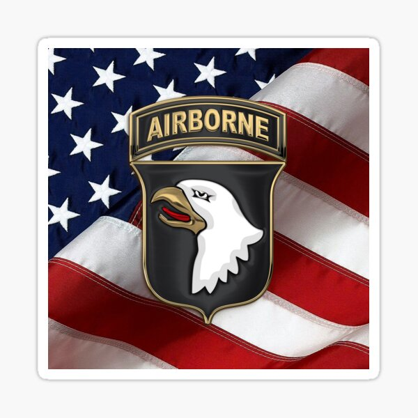 101st Airborne Division - 101st ABN Insignia over American Flag  Sticker