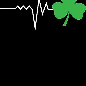 Nurse Heartbeat Clover St Patricks Day Funny Apparel by CustUmmMerch
