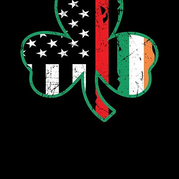 Firefighter St Patricks Day Thin Red Line Clover Apparel by CustUmmMerch