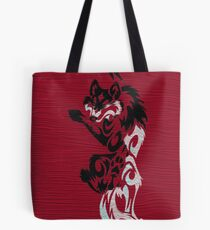 Black and White Wolf on Red, Primitive Art, by CED, Folk Art, Animals, Wilderness,  Tote Bag