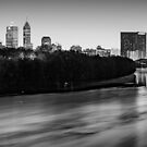 Black and White Indianapolis Skyline on the White River by Gregory Ballos
