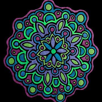 Three Color Mandala (Blue, Purple & Green) by gorff