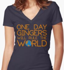Funny Ginger Hair T Shirt - One Day Gingers Will Rule The World Women's Fitted V-Neck T-Shirt