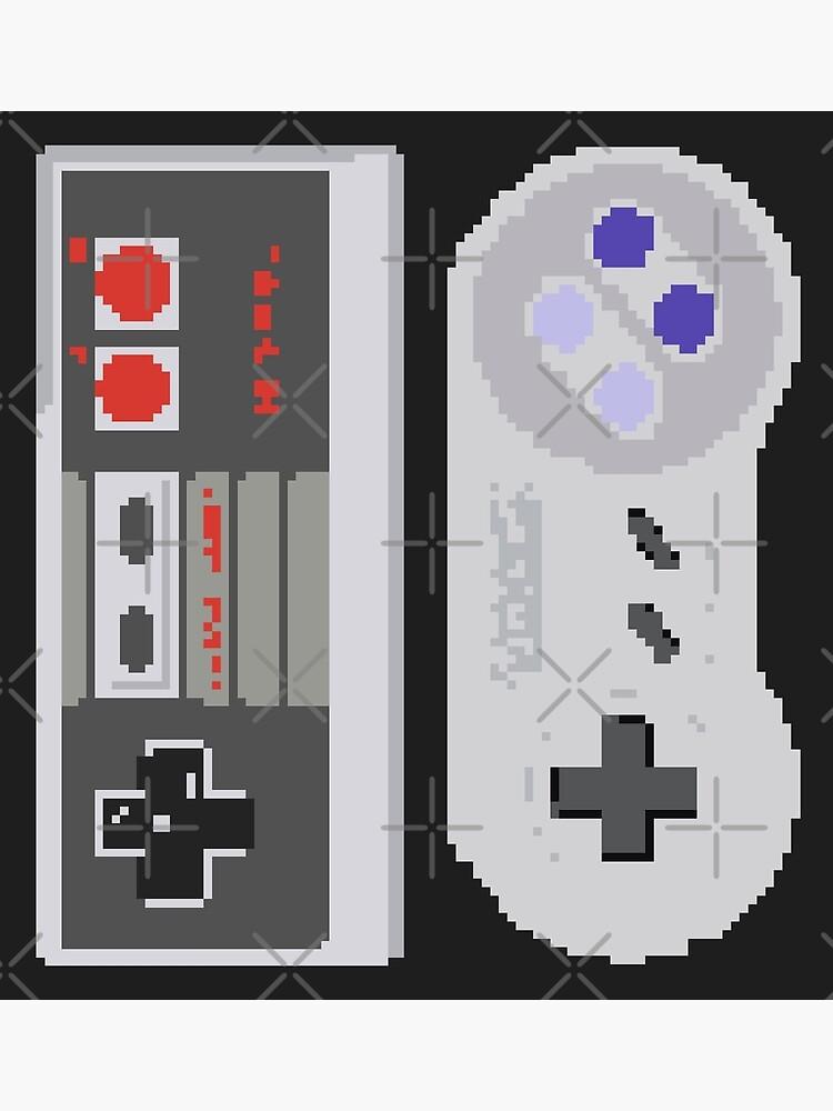 NES & SNES Controller Pixel Art Sprites   Retro Nintendo Controllers    Poster
