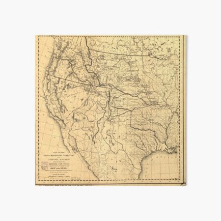 """24/"""" x 24/"""" 1858-1917 Map Of US Trans Mississippi During American Fur Trade"""
