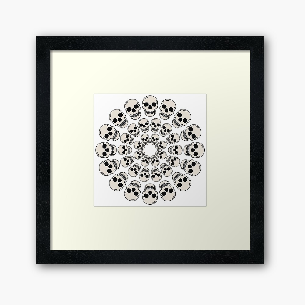 Circle Skulls - Dark Framed Art Print