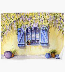 Yellow facade - blue shutters Poster