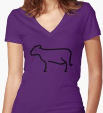 Cow Women's Fitted V-Neck T-Shirt