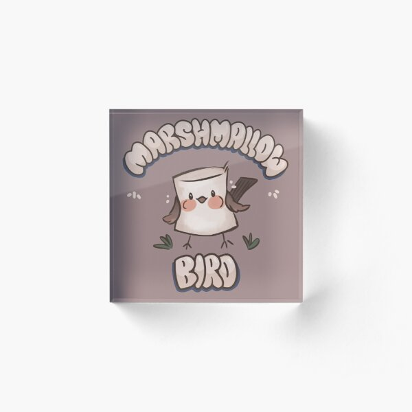 Marshmallow Bird Acrylic Block