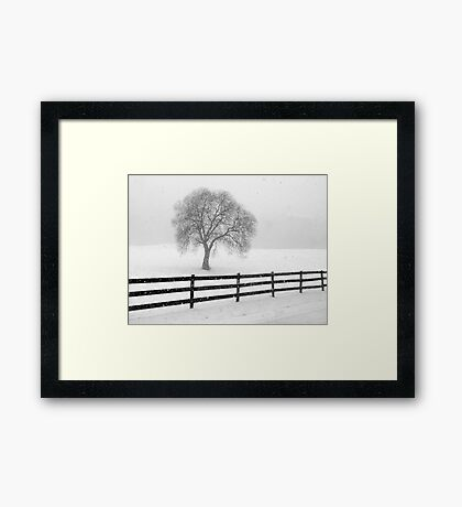 listen: the snow is falling all around Framed Print