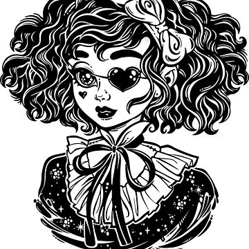 Gothic Victorian kawaii girl head portrait with heart shaped eye patch and curly hair.  by KatjaGerasimova