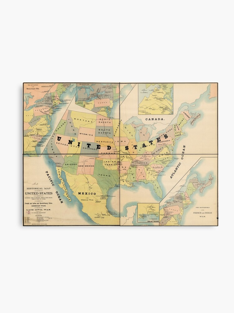 Historical Military Map of the United States (1890) | Metal Print