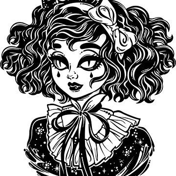 Gothic Victorian demonic girl head portrait with imp horns and curly hair and strange eyes.  by KatjaGerasimova