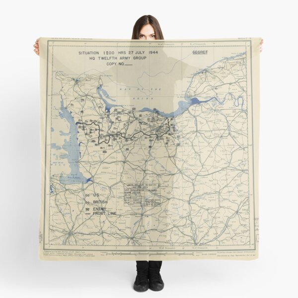 World War II Twelfth Army Group Situation Map July 27 1944 Scarf