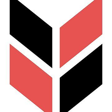 Geometric Pattern: Chevron: Black/Red by redwolfoz