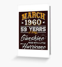 March 1960 Birthday Gifts - March 1960 Celebration Gifts - Awesome Since March 1960 Greeting Card