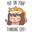 Cute Put On Your Thinking Cat Pun Photographic Print By Rustydoodle Redbubble