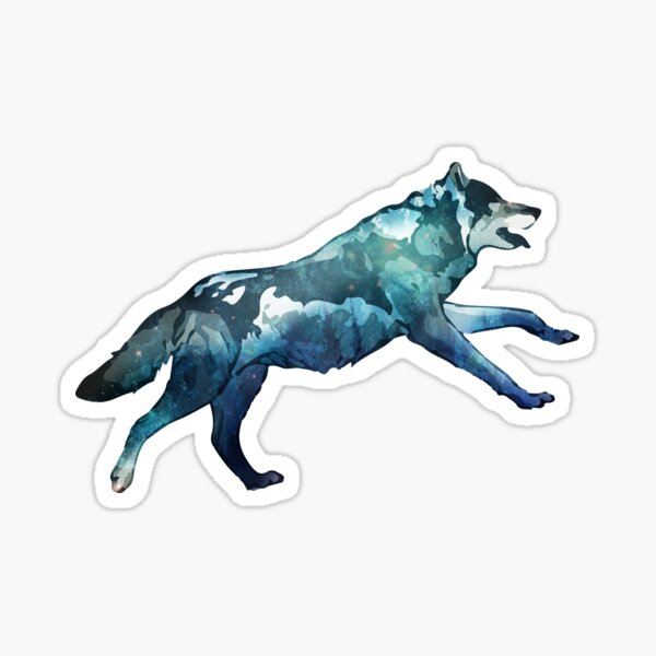 Double Exposure Animals Wolf Running - Gift Idea Sticker