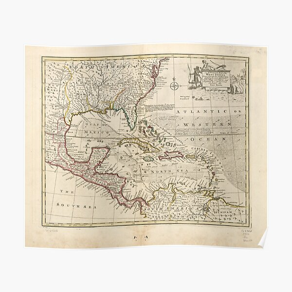 Map of the West Indies by Emanuel Bowen (1752) Poster