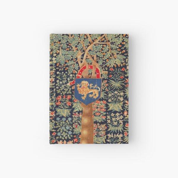 ANTIQUE MILLEFLEURS TAPESTRY,OAK TREE,ACORNS, LION HERALDIC SYMBOL,RED GREEN BLUE FLORAL Hardcover Journal