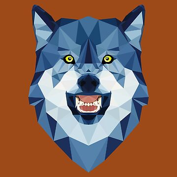 Low Poly Art Wolf Blue - Gift Idea by vicoli-shirts