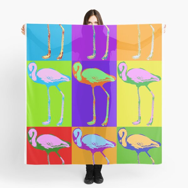 Poster with flamingo in pop art style Scarf