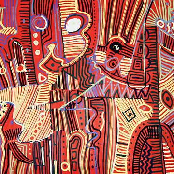 KNIGHT HORSEBACK Abstract Red Ivory Purple African Tapestry by BulganLumini
