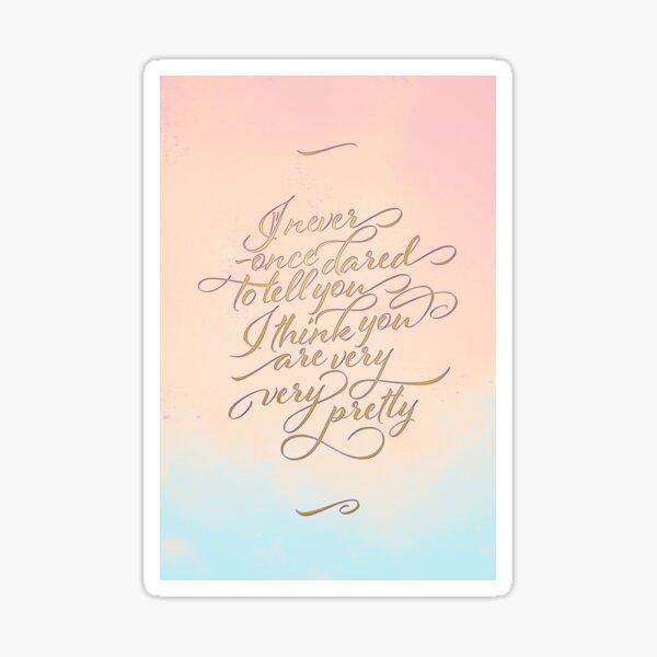 Carte pour declarer sa flamme à son amour secret en anglais Sticker
