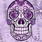 Sugar Skull. Totenkopf. Day Of The Dead. Lila floral. von Christine Krahl