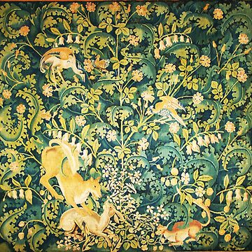 FOREST ANIMALS,Fox Hare and Birds ,Green Yellow Floral Tapestry by BulganLumini