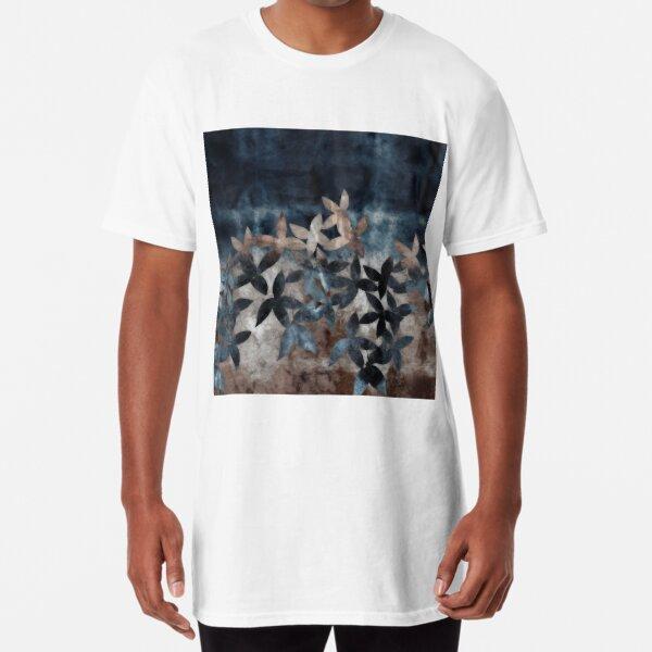 Shibori Leaves Indigo Print Long T-Shirt