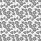 Swollen Shapes - Geometric Sketch Pattern (Black and White) by mariomartin