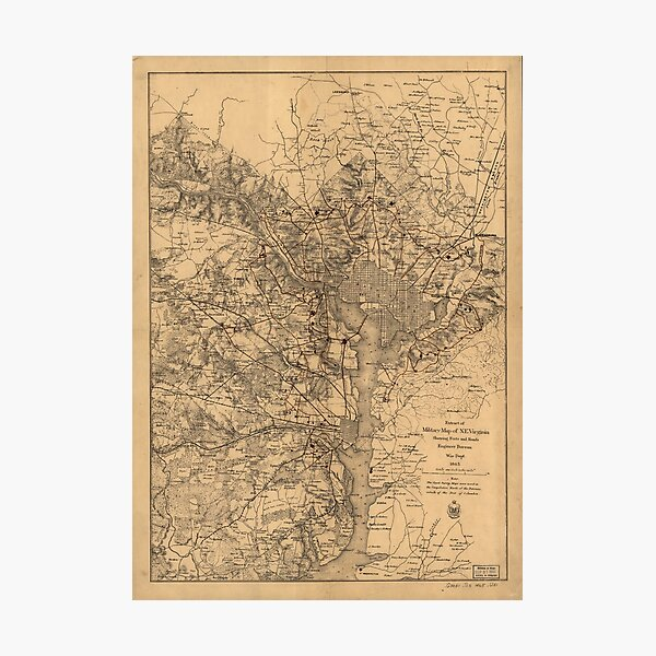 Military Map of N.E. Virginia Showing Forts and Roads (1865) Photographic Print