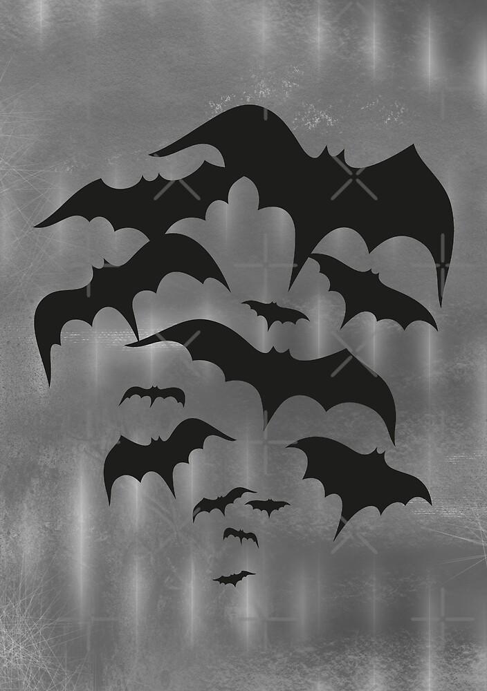 Fledermäuse, Fledermausschwarm. Halloween Bats. von Christine Krahl