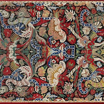 CORNUCOPIA AND FLOWERS Antique Red Blue White Yellow Floral Tapestry by BulganLumini