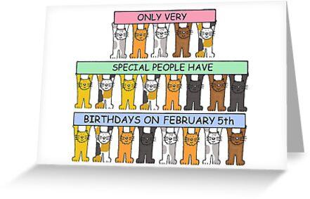 Tarjetas De Felicitación 5 De Febrero Cumpleaños Dibujos Animados