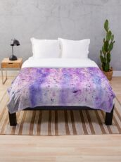abstract purple violet wisteria watercolor painting  Throw Blanket