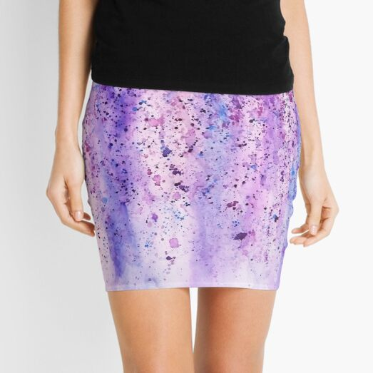 abstract purple violet wisteria watercolor painting  Mini Skirt