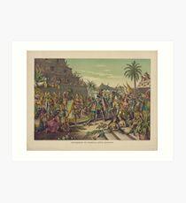 Lámina artística Entrada de Cortez en México Reunión Montezuma 8 de noviembre 1519