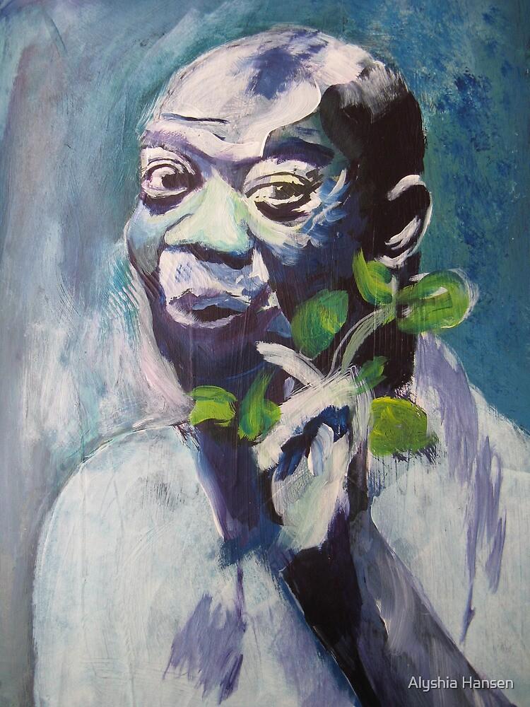 Louis: a portrait in blues (acrylic) by Alyshia Hansen