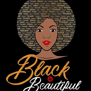 Black is Beautiful Afro Word Art African American Girl Portrait by mrhighsky