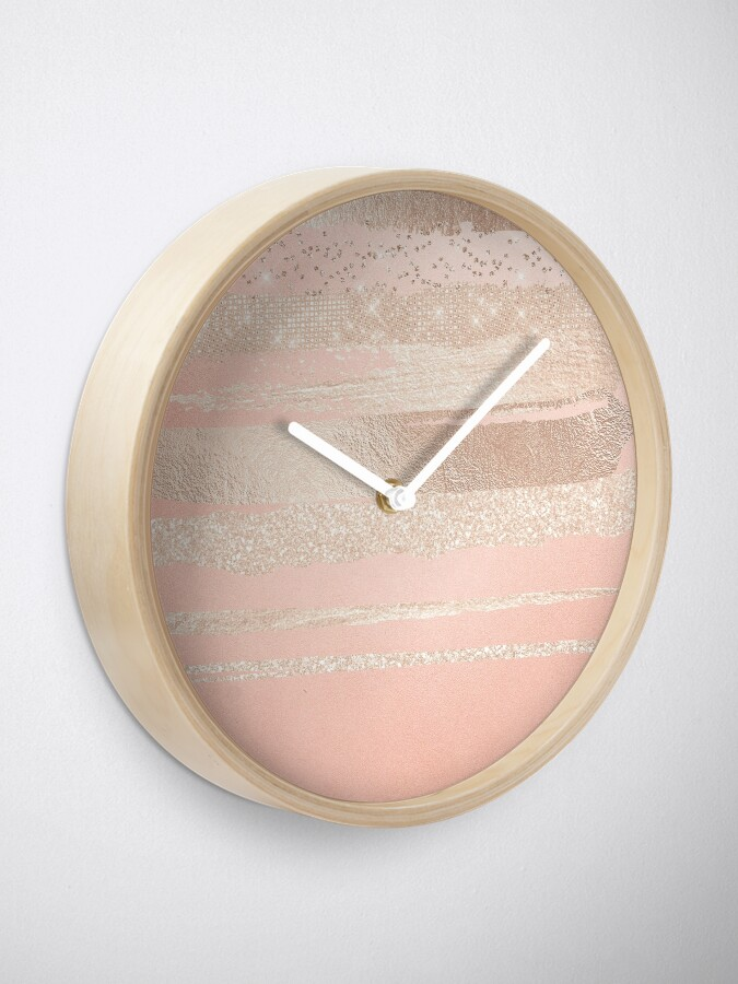 Alternate view of Glitter and Metal Foil Strokes on Blush Rosegold Metal Clock