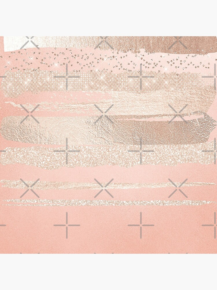 Glitter and Metal Foil Strokes on Blush Rosegold Metal by MysticMarble
