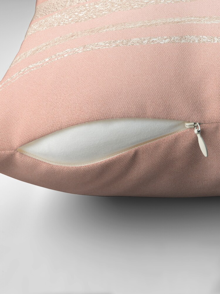 Alternate view of Glitter and Metal Foil Strokes on Blush Rosegold Metal Throw Pillow