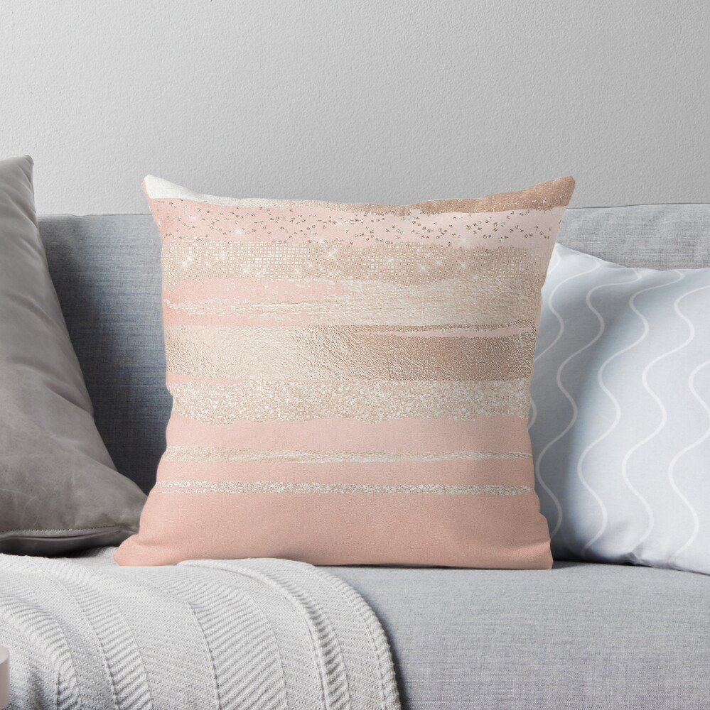 Glitter and Metal Foil Strokes on Blush Rosegold Metal Throw Pillow
