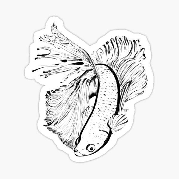 Betta fish ink Sticker