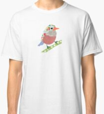 Collage style bird. Patchwork Sparrow illustration Classic T-Shirt