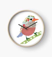 Collage style bird. Patchwork Sparrow illustration Clock